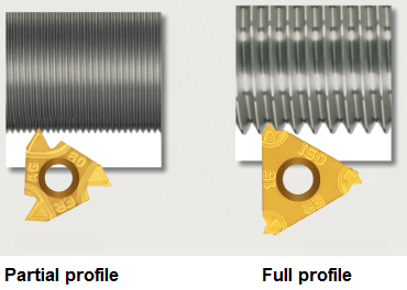 CNC threading insert - partial and full form